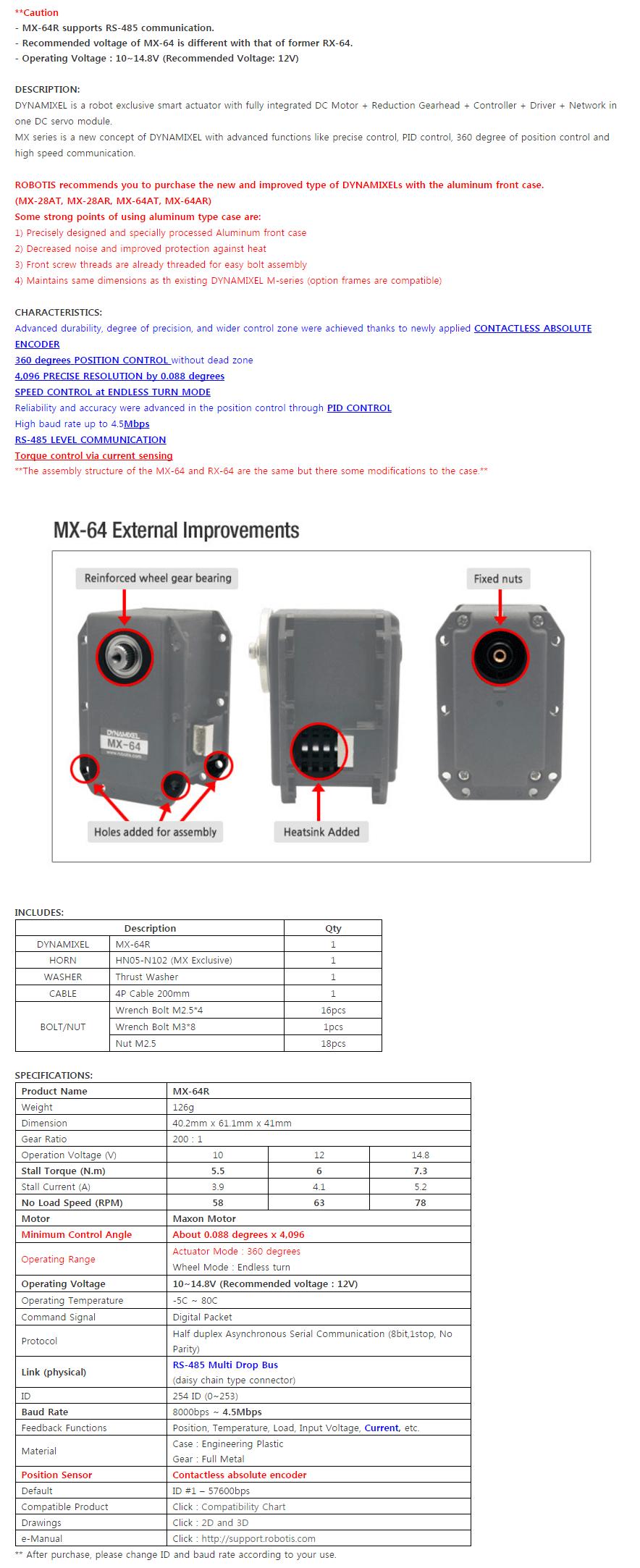 Descripción ROBOTIS DYNAMIXEL MX-64R