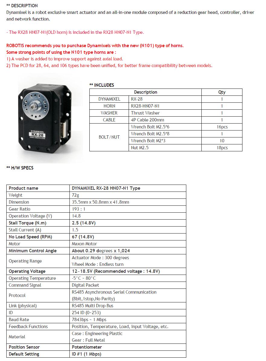 Descripción DYNAMIXEL RX-28