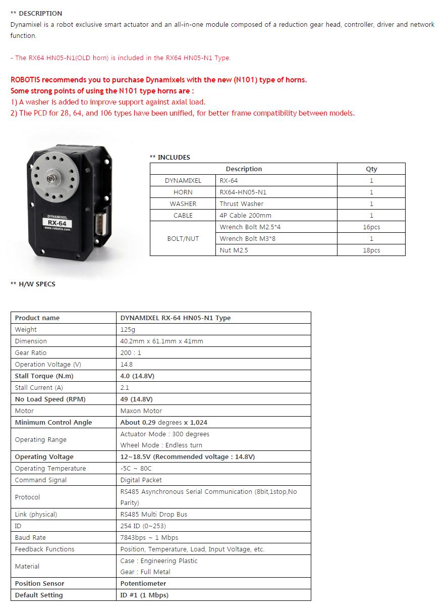 Descripción DYNAMIXEL RX-64
