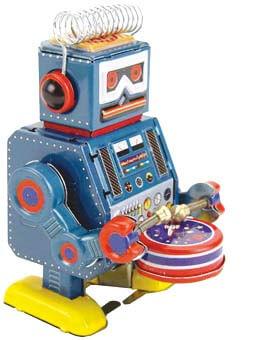 Robot a cuerda que toca el tambor