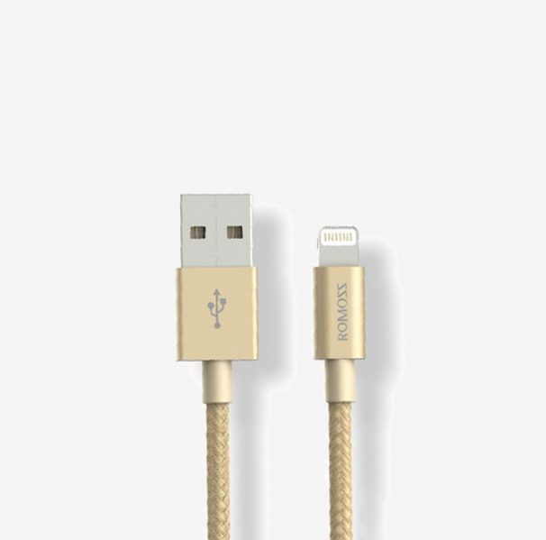 ROMOSS ΚΑΛΩΔΙΟ LIGHTNING MFI NYLON GOLD DATA & 2,4Α QUICK CHARGING