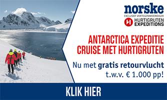 Norske actie Antarctica expeditie cruise gratis vlucht
