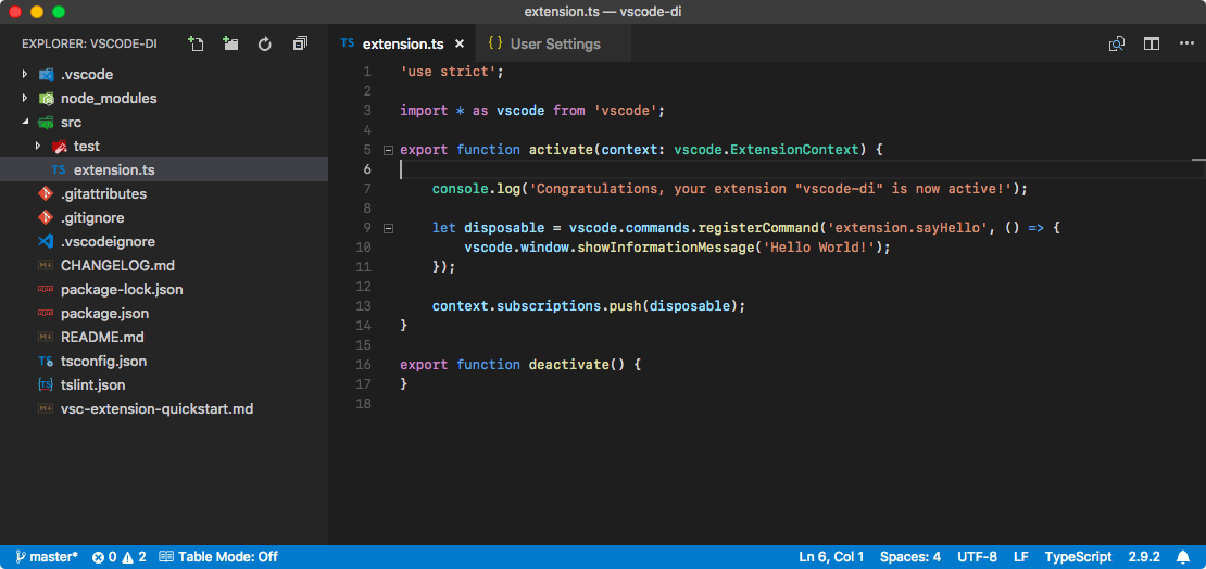 VSCode with extension