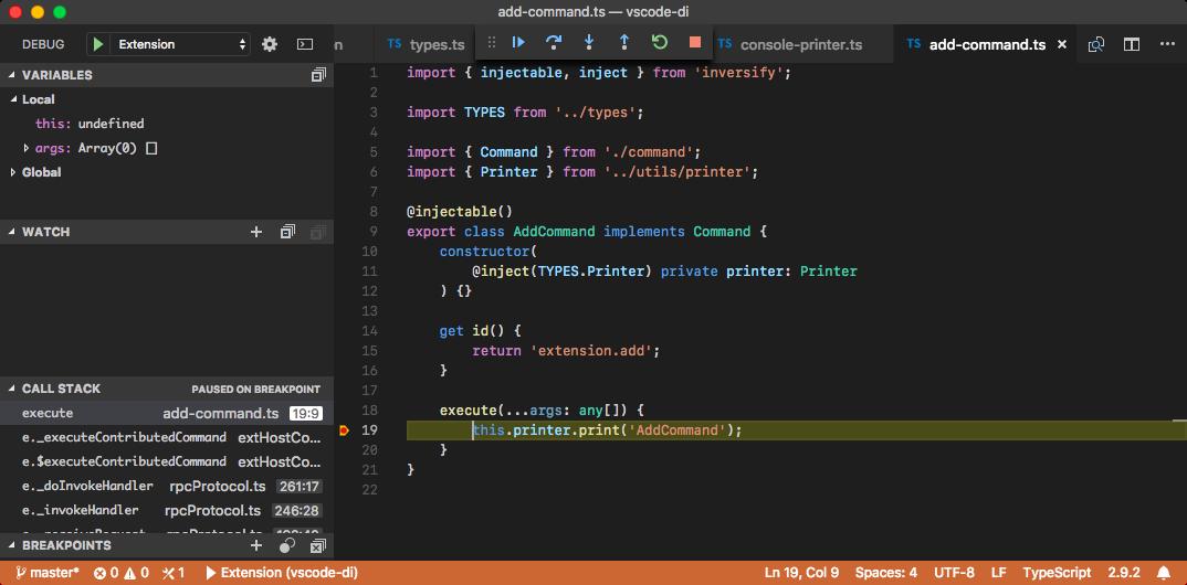 Extension run inside debugger