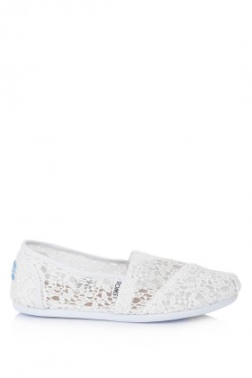 Toms - Classic White Lace Leaves Espadril