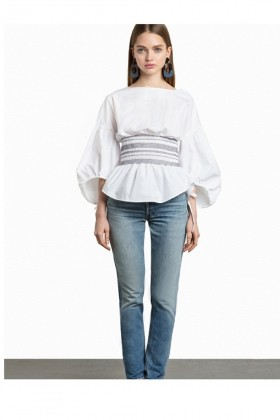Ilqara - Puff Sleeve Belt Shirt