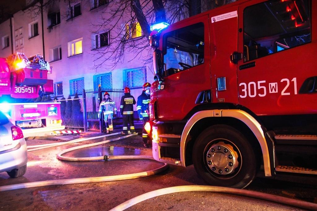 Pożar mieszkania na Saskiej Kępie