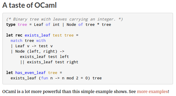 screen shot of introduction code on ocaml website
