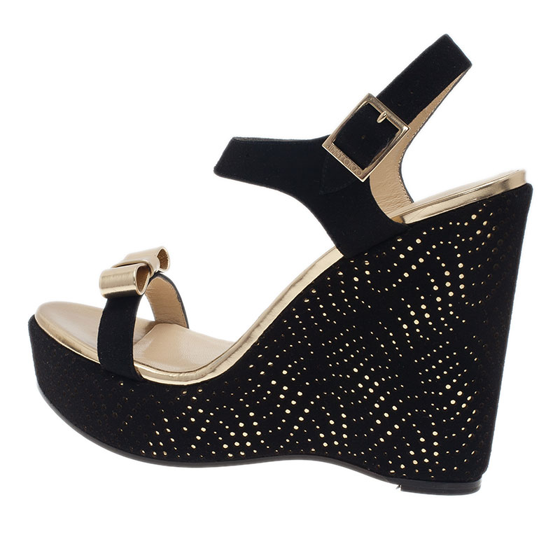 lc buy sell jimmy choo black and gold wedge