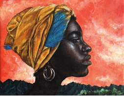 woman with golden headscarf