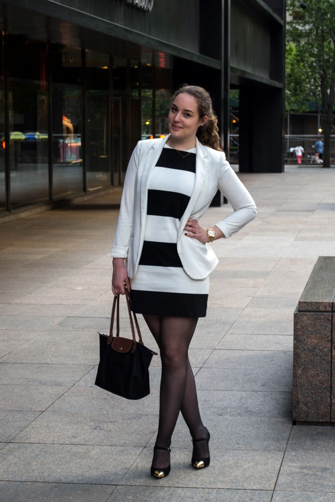 Outfit: Black & White Dress // Metal Toe Cap Heels - Gestreiftes Kleid 7 683x1024