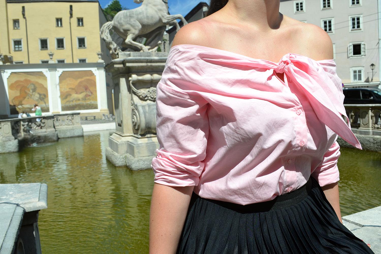 Outfit: Plissé & Pink Off Shoulder Blouse // Salzburg