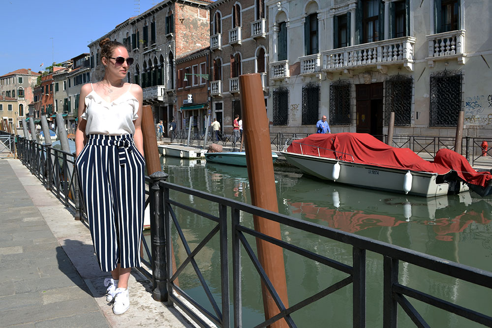Outfit: Striped Culottes & Sneakers | Venice