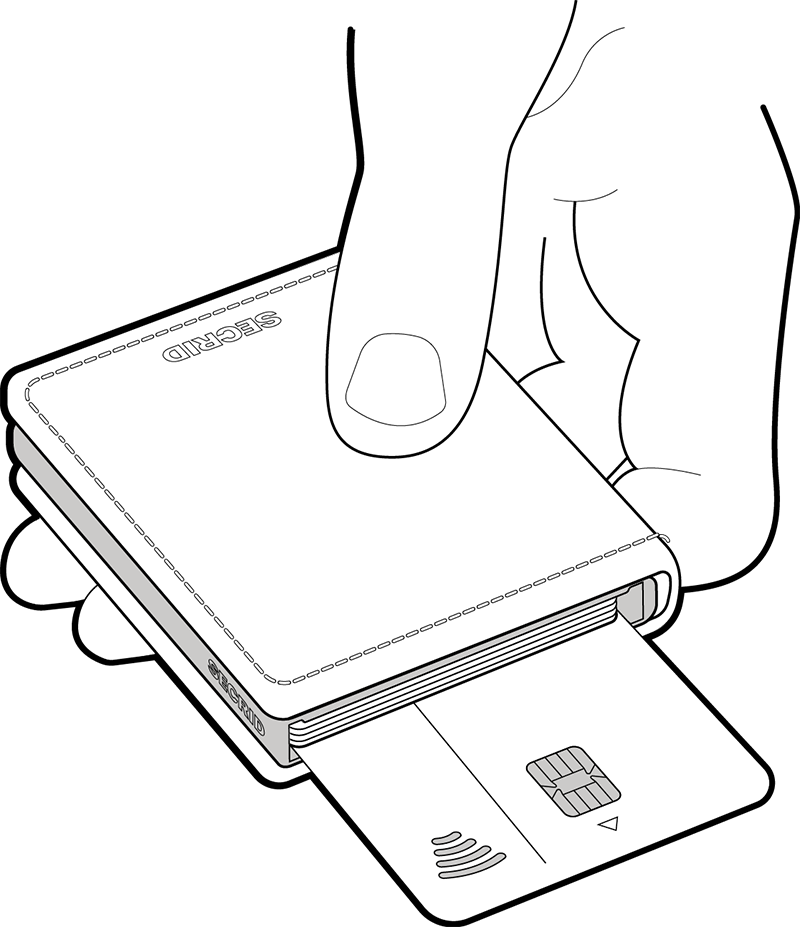Use the card at the back for contactless payment without taking it out of your wallet.
