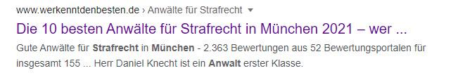 Anwälte Strafrecht München SERP