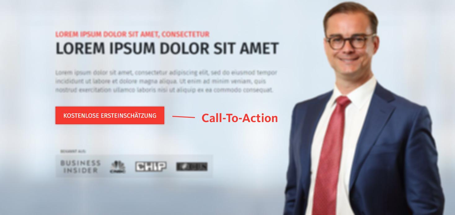 Call-To-Action auf der Startseite