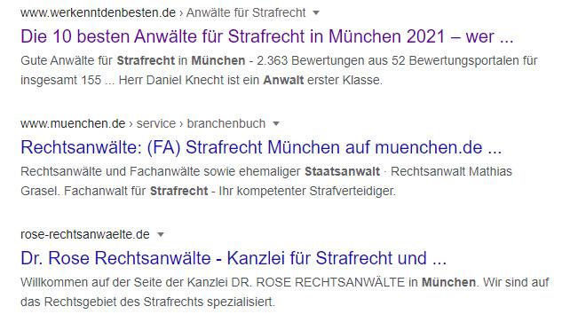 SERP-Einträge für den Begriff Strafrecht Anwalt München