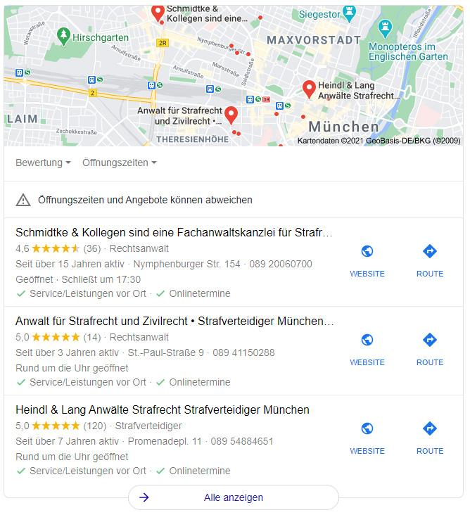 SERP Karte, Anwälte für Strafrecht in München