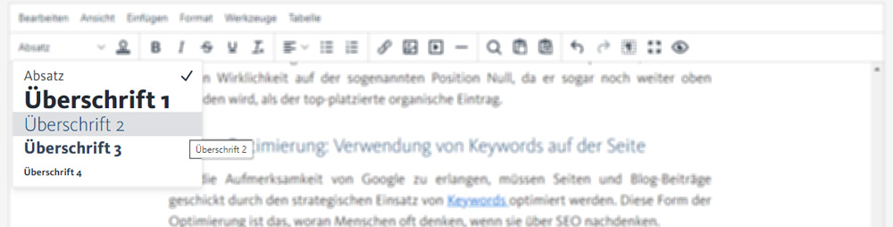 Überschriften anwenden im Sence Blogsystem