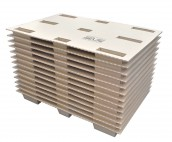 The Cone Pal is a pallet of corrugated cardboard which is a space-saving alternative to conventional pallet.