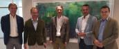 Das Management-Team von Carbox Packaging und Valuepap: (v. li.) Klaus Hockl, Bernhard Astner, Hans Pridal, Roland Schöberl, Michael Kübeck. (Foto: Cardbox Packaging Holding)