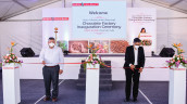 Amol Nayak (on the left), Plant Manager for Barry Callebaut India, and Dhruva Jyoti Sanyal, Managing Director for Barry Callebaut India, officiating the chocolate factory's opening.  (Image: Barry Callebaut)