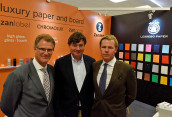 Joint stand of Zanders Paper and Lessebo Paper at Luxury Packaging 2019 fair (from the left): John Tucker (Sales Director Zanders Paper), Lars Forsberg (Lessebo Papers) and Tom Olander (CEO Jool Invest). (Image: Weston)