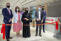 Opening of the new innovation center in Dubai: (right to left) Jens Meier (Technical Manager, Flavor Division Middle East), Sofiane Berrahmoune (Sub Regional Director Flavor Africa Middle East) Feryal Ahmadi (Chief Operating Officer – DMCC), Dhanu Abhyankar (Director - Sales & Leasing – DMCC) and Paul Ashton (Executive Director – Property – DMCC). (Image: Symrise)