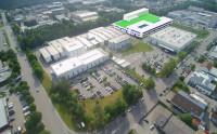 Das Bild zeigt den geplanten Neubau (grüne Fläche) am Standort Waldkraiburg. (Foto: Netzsch Group)
