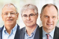 Heinrich Schaper (Executive Board member and responsible for the Flavor segment), Dr. Jean-Yves Parisot (Director Nutrition) und Achim Daub (Director Scent & Care, from left) li.)  (Foto: Symrise)