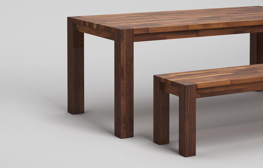 esstisch sitzbank nussbaum edelstahlf en talca design. Black Bedroom Furniture Sets. Home Design Ideas