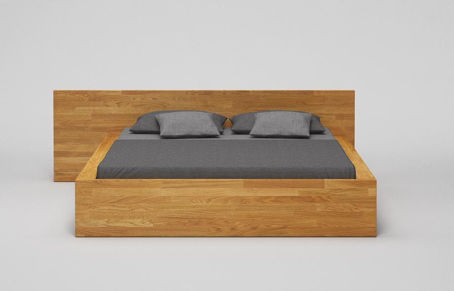 B31 Bett: Eiche massiv - Kufenbett mit hohem Kopfteil von Frohraum