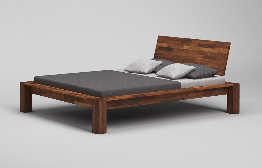 b13k bett mit kopfteil nussbaum massiv massivholzbett. Black Bedroom Furniture Sets. Home Design Ideas