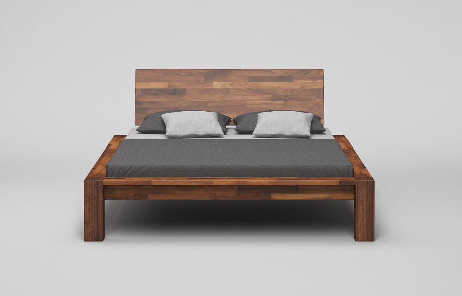 b13k bett mit kopfteil nussbaum massiv massivholzbett von frohraum. Black Bedroom Furniture Sets. Home Design Ideas