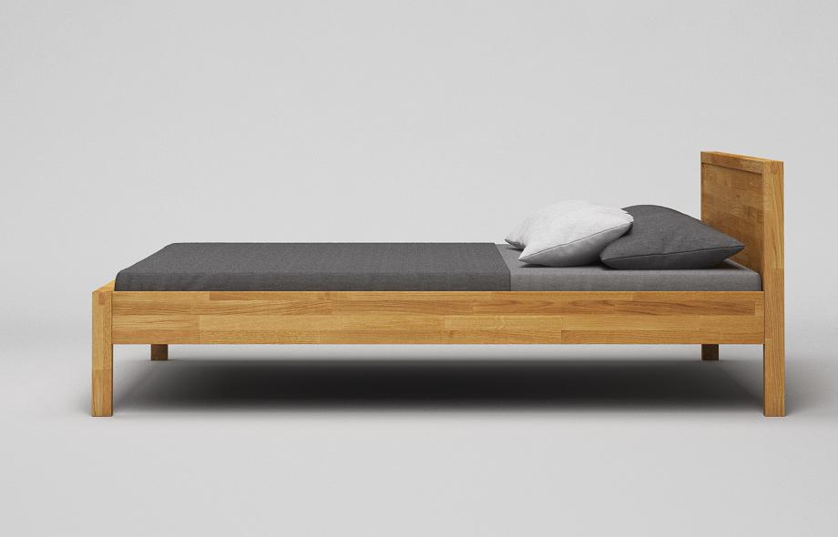 B41 Bett: Eiche massiv - Massivholzbett mit Kopfteil von Frohraum