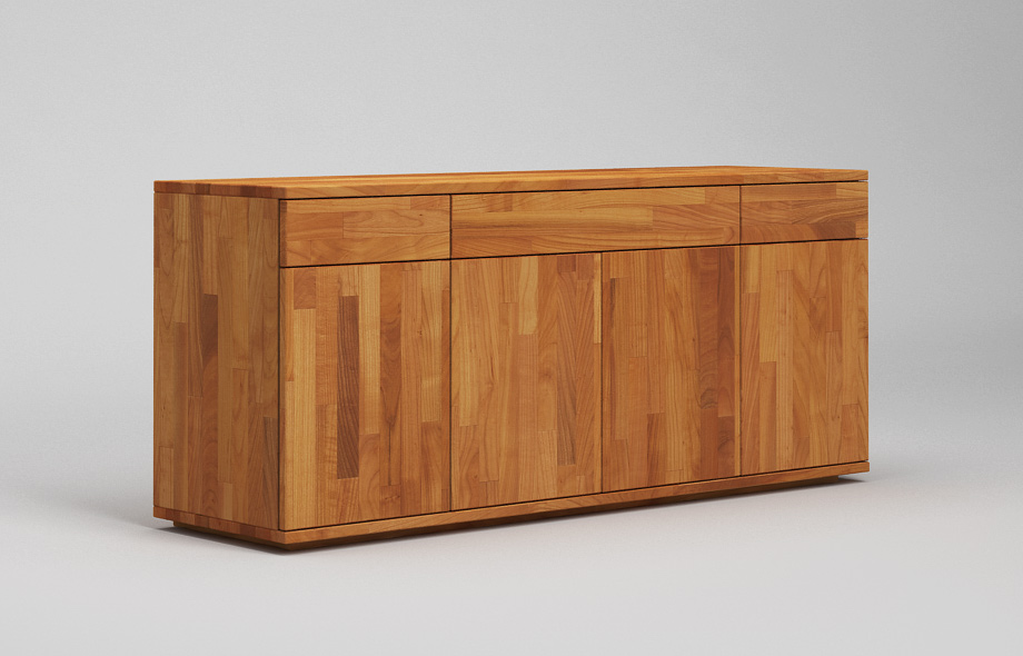 S103 dreispaltiges sideboard aus kirschbaum massiv von for Sideboard kirschbaum