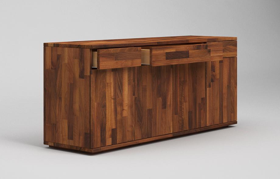 s103 schwebendes sideboard aus nussbaum massiv von frohraum. Black Bedroom Furniture Sets. Home Design Ideas