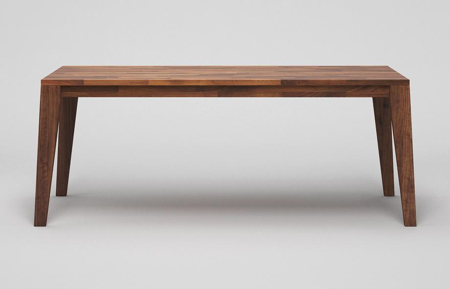 ET110: Esstisch aus massivem Nussbaum mit schrägen Beinen