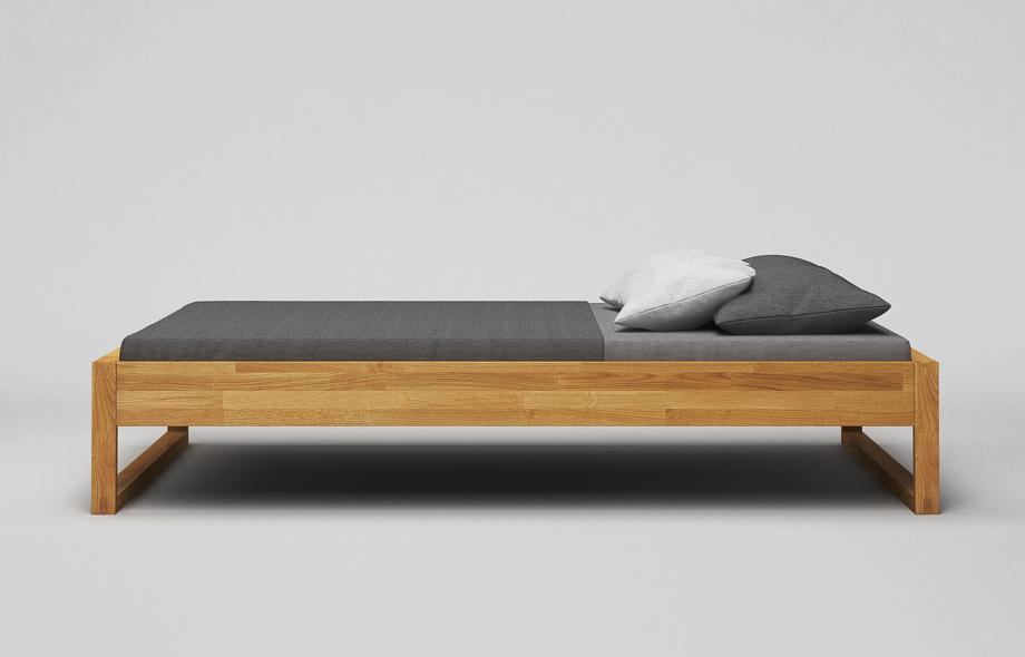 B43 Bett: Eiche massiv - Maßgefertigtes Kufenbett von Frohraum