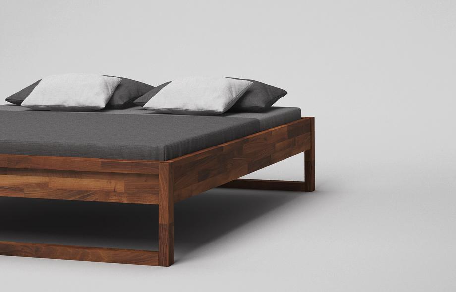 b43 bett nussbaum massiv ma gefertigtes kufenbett von. Black Bedroom Furniture Sets. Home Design Ideas