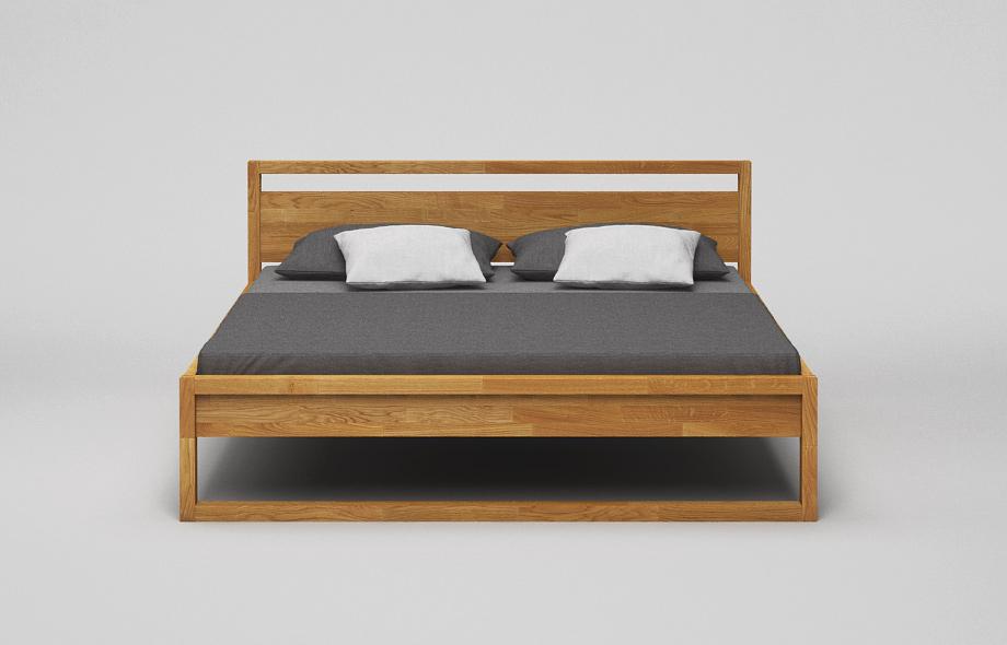 B44 Bett: Kufenbett aus massiver Eiche mit Kopfteil von Frohraum