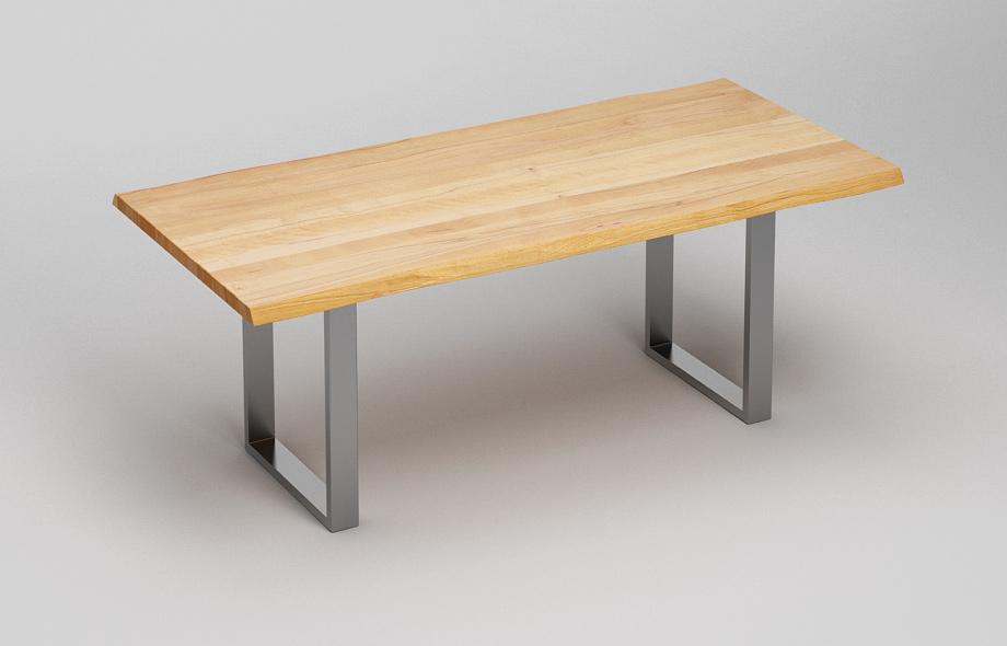 Esstisch wildeiche baumkante  ET38BK Esstisch mit Baumkante und Stahlkufen von Frohraum