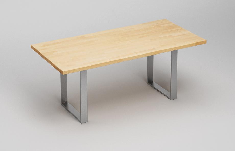 Et38 esstisch aus massivholz mit stahlkufen for Esstisch mit kufen