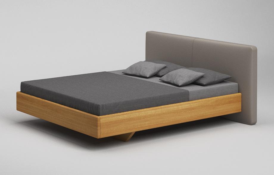 b37 pk bett eiche massiv schwebebett mit abgerundetem polsterkopfteil von frohraum. Black Bedroom Furniture Sets. Home Design Ideas