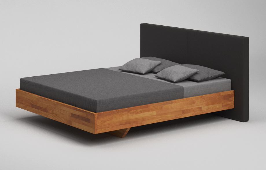 b35 pk bett kirschbaum massiv schwebebett mit polsterkopfteil von frohraum. Black Bedroom Furniture Sets. Home Design Ideas
