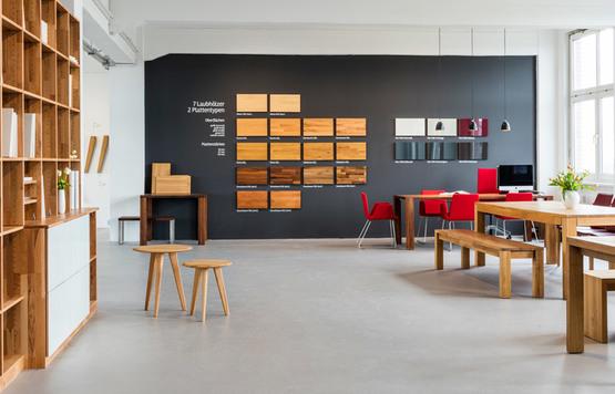 Showroom Berlin Tische Holzarten