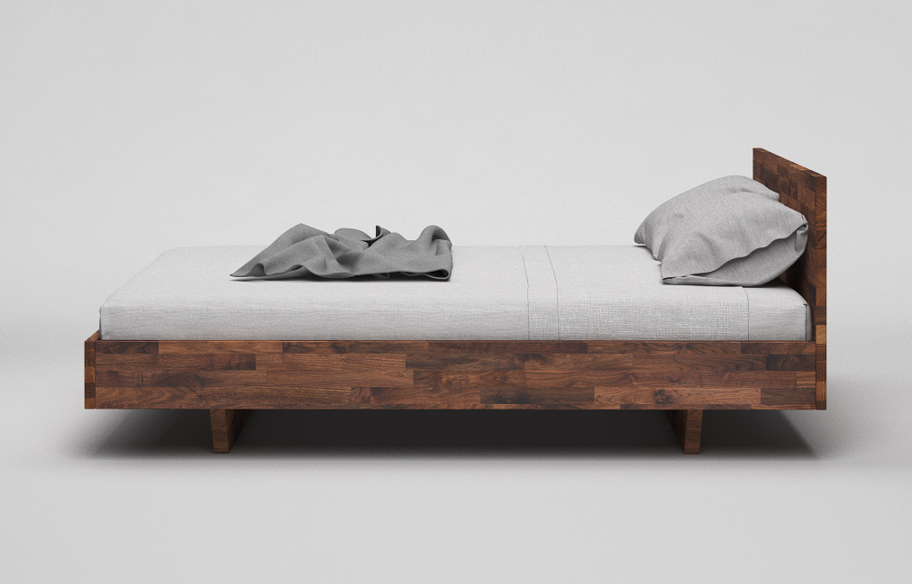 b34 bett nussbaum massiv minimalistisches schwebebett mit kopfteil von frohraum. Black Bedroom Furniture Sets. Home Design Ideas