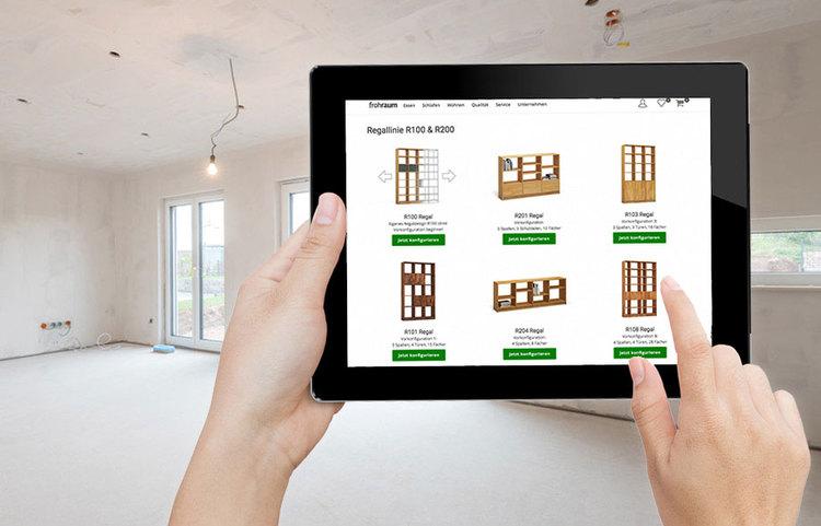 regale aus nussbaum massiv nach ma von frohraum. Black Bedroom Furniture Sets. Home Design Ideas