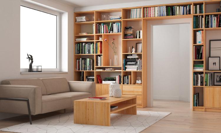 Wohnzimmer: Regalwand und CT30 Couchtisch in Kernbuche massiv
