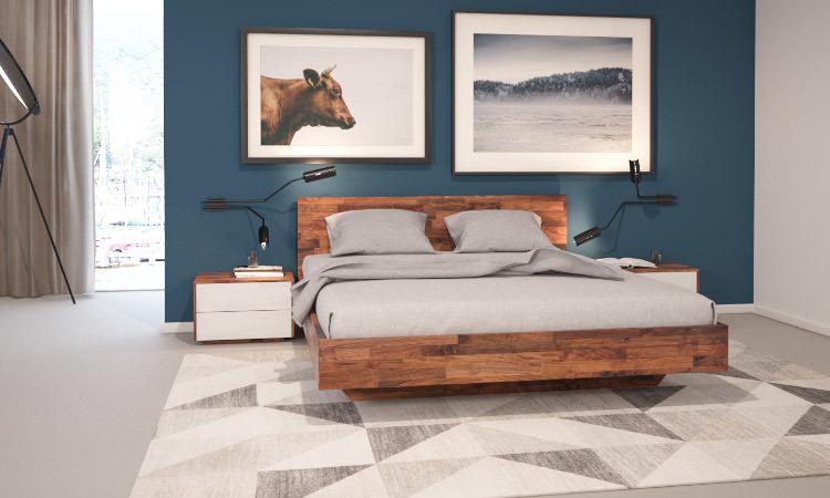 Schlafzimmer: B34 Bett und NT502 Nachttische in Nussbaum massiv